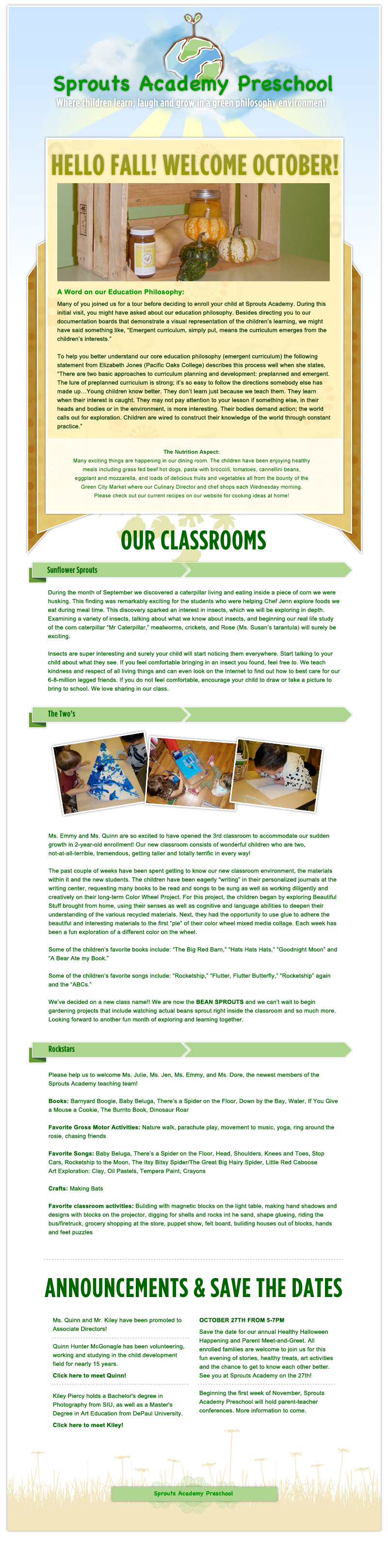 Sprouts Academy Preschool  - October Newsletter