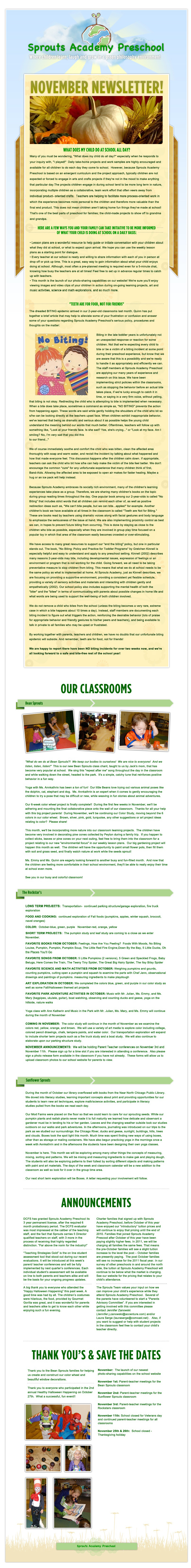 Sprouts Academy Preschool November Newsletter
