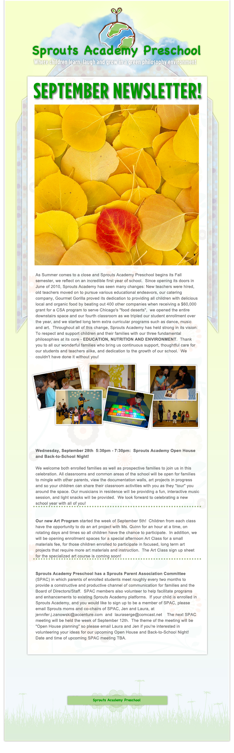 Sprouts Academy Preschool Chicago - September Newsletter